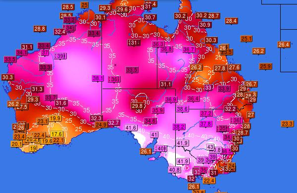 Nella mappa (fonte infoclimat) le temperature massime del 2 febbraio.