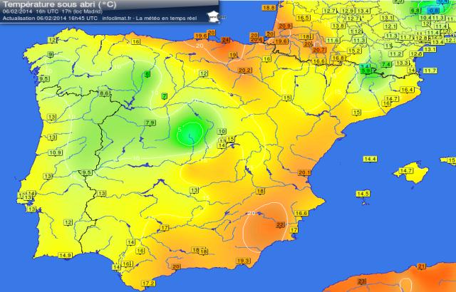 Le temperature nel pomeriggio di giovedì 6 febbraio tra Spagna e Francia sud-occidentale. Fonte infoclimat.fr.