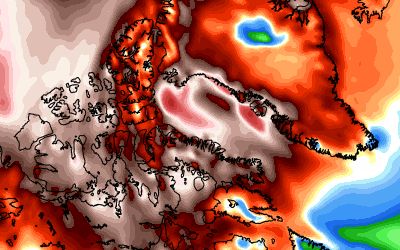 Le anomalie termiche della prima parte di febbraio tra la Groenlandia e l'Artico canadese, si evidenziano valori molto al di sopra della norma. Fonte mappa weatherbell.