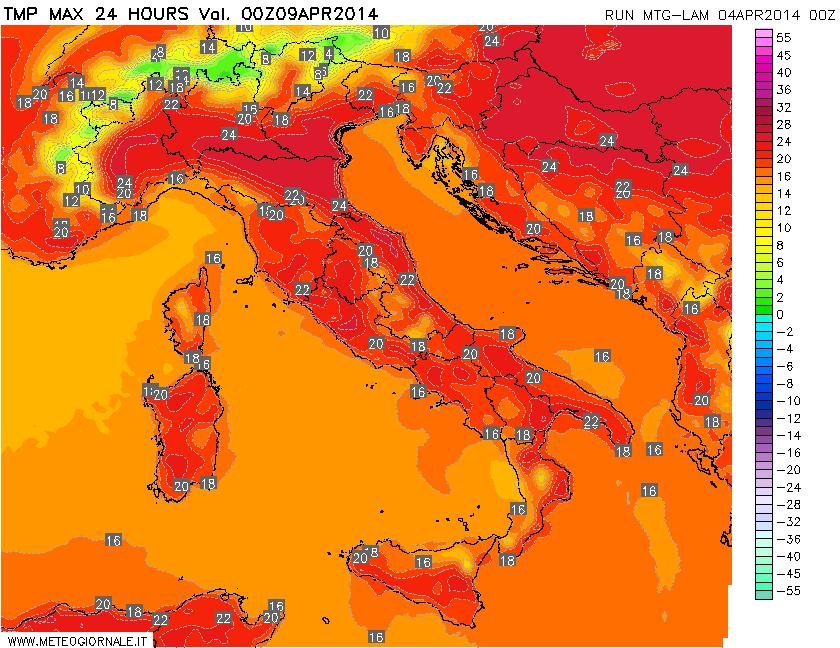 Temperatura massima a 2 metri, prevista per l'8 aprile.